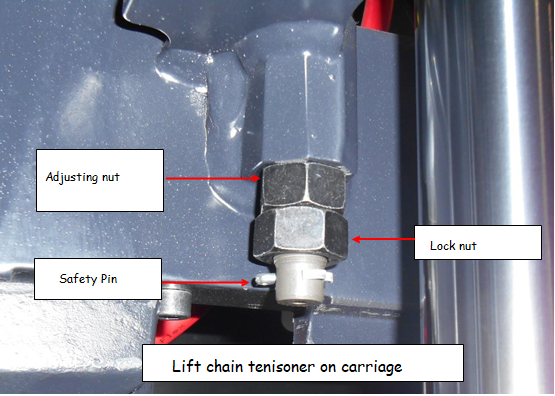 lift chain tensioner on carriage